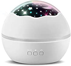 Kids Night Light Projector – Stars/Ocean All-in-one Light Projector for Kids, Projector Lights for Bedroom, Colorful Rotating Projection Night Lights Gift for Boys Girls and Kids (White)
