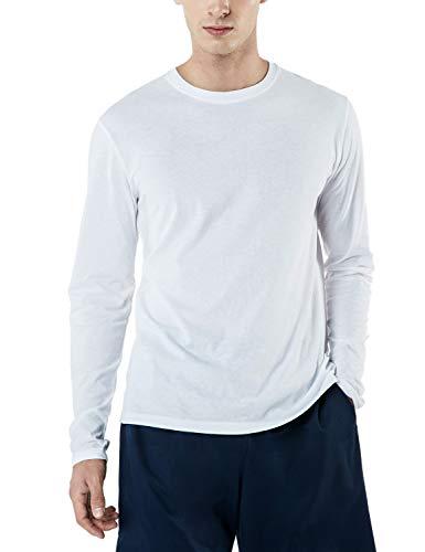 Camisetas masculinas de manga comprida TSLA, camisetas de algodão macio, dinâmicas e casuais, secagem fresca, para trabalho ao ar livre, Dyna Cotton Basic(mtl50) - White, Small