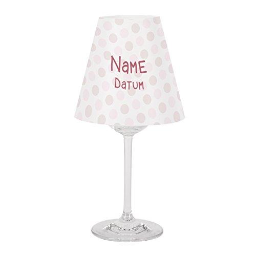 Striefchen® außergewöhnliche Taufdekoration für Mädchen Lampenschirm für Weinglas mit Namen des Kindes Lampenschirm + Glas