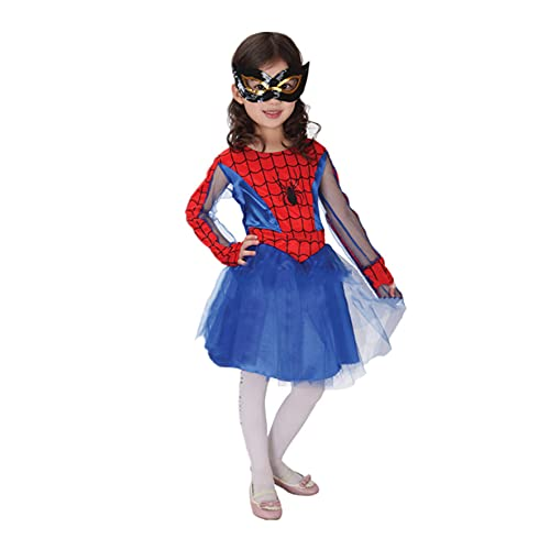 XNheadPS Le Ragazze Vestono Il Bambino Spider-Girl Fancy Dress Costume Party Clothes Birthday Party Outfit with Mask Kids Girl Spider-Man Dress Outfit,Blue- 100~110cm
