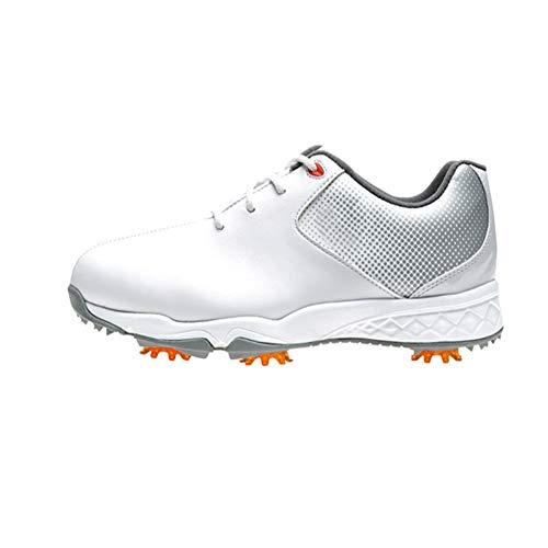 CGBF-Golf Shoes für Kinder, Leichte Breathable Golfschuhe wasserdichte Leder Beiläufige Walkingschuhe Griffige Laufschuh Lace-Up Turnschuhe,Silber,36 EUR/4.5 UK/5.5 USA
