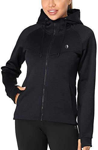 icyzone Damen Sportjacke Laufjacke voll ZipTrainingsjacke mit Kapuze, Fitness Hoodie Langarm Shirt im Winter (M, Dunkel Blau)