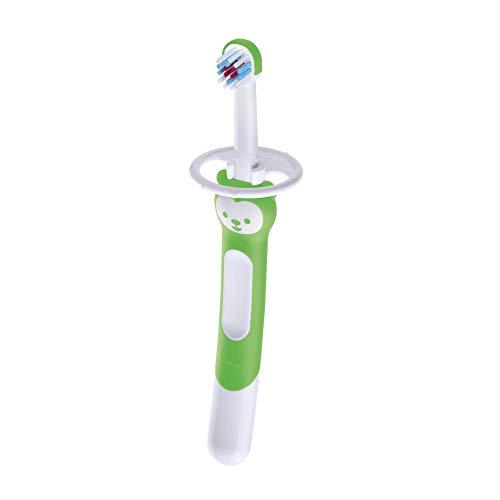 MAM Training Brush C118 Zahnbürste mit langem und ergonomischem Griff, mit Sicherheitsring, für Babys ab 5 Monaten, grün