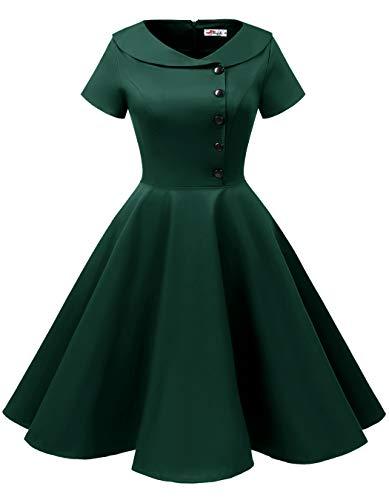 ALAGIRLS Womens 1950s Retro Rockabilly Swing Knee Length Dress Vintage Short Sleeves
