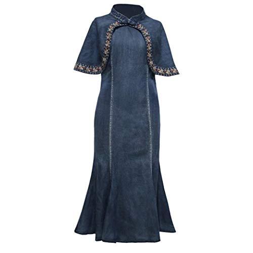 E-girl Damen Bestickt Bodycon Jeanskleid Ohne Arm Kleid,DA82200,Blau,S