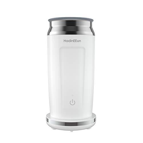 HadinEEon elektrischer Milchaufschäumer 4 in 1 Edelstahl Automatischer Milchschäumer Erhitzen und Aufschäumen für heiße und kalte Milch Bedienung auf Tastendruck,Antihaftbeschichtung,240ml