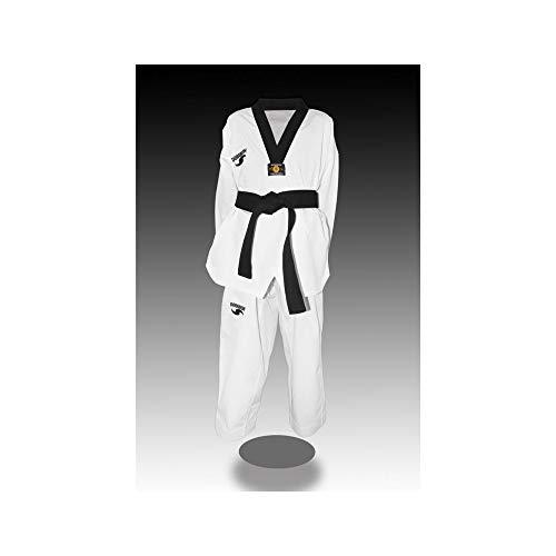 Dorawon Luxury - Colletto Nero Dobok Uniforme per Taekwondo, Unisex, Unisex, Z20Z2Luxury675noir, Bianco, 170 cm