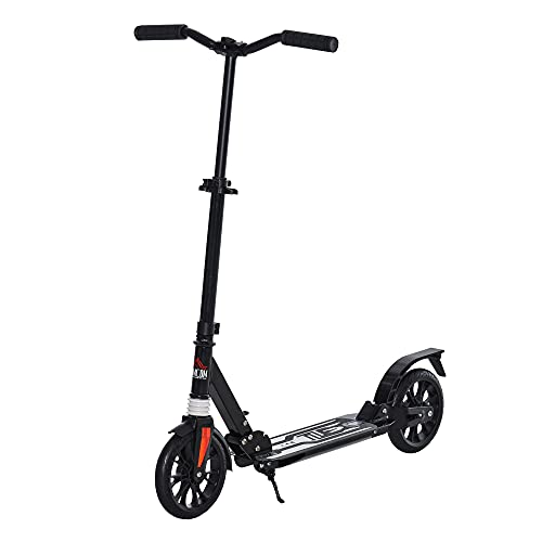 HOMCOM Kick Scooter Foldable Height Adjustable Aluminum Ride for 14+ Adult...