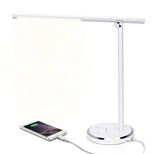 Lampada da Scrivania LED Protezione Degli Occhi, lampada Touch Control Pieghevole per cameretta,ufficio, con porta di ricarica USB, 10 livelli di luminosità 5 modalità di illuminazione, Bianco