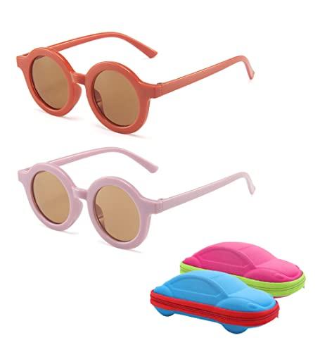 besbomig 2 Pcs Gafas de Sol Redondas para Niño y Niña 3-10 Años - Gafas Infantiles con Protección UV, con Funda