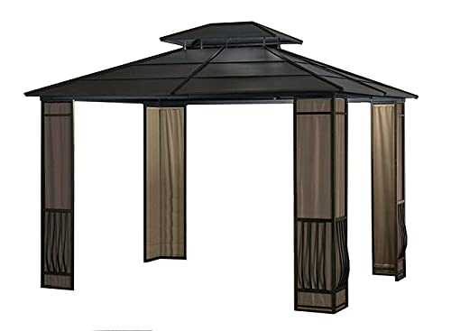 10 x 12 Heavy Duty Galvanized Steel Hardtop Wyndham Gazebo with Mosquito Netting Outdoor Furniture Patio Furniture Gazebos for patios Pop up Canopy Tent Tents for Parties Canopy Tent Outdoor Patio