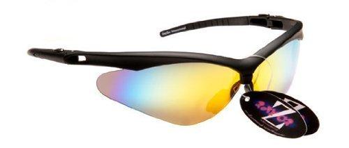 Rayzor Professionele Lichtgewicht Zwarte UV400 Sport Wrap Boogschieten Zonnebril, Met een voorruit Amber/Oranje Iridium Revo Anti-Glare Lens.