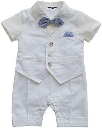 HMD Baby Boy Gentleman White Shirt Waistcoat Bowtie Tuxedo Onesie Jumpsuit Overall Romper product image