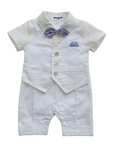 HMD Baby Boy Gentleman White Shirt Waistcoat Bowtie Tuxedo Onesie Jumpsuit Overall Romper (A White, 0-3 M)