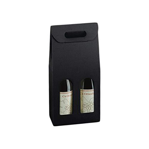 Lucgel Srl - 10 cajas porta botellas de vino de 2 de cartón de piel negra con asa y ventana frontal - Estuche de papel