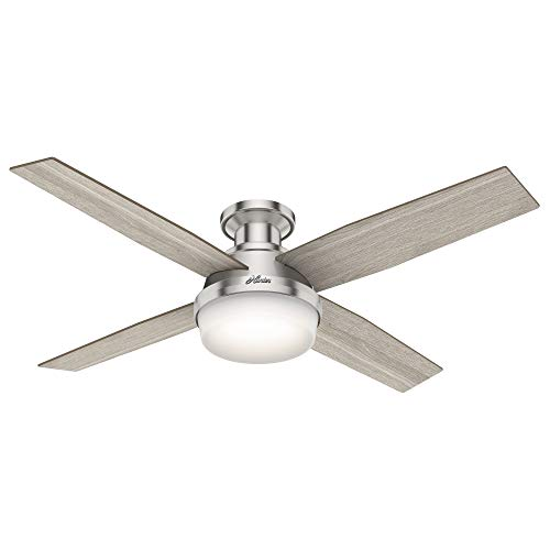 "Hunter Fan Company 50283 Dempsey Indoor Low Profile Ceiling Fan with LED Light and Remote Control, 52"", Brushed Nickel"