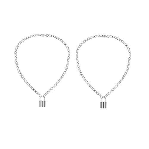 ZEEREE 2 Piezas de Collar con Colgante de Candado en Y, Gargantilla de Cadena de Punk Collar Collar de aleación de Gargantilla Colgante Colgante de Cerradura Gargantilla para Mujeres Hombres