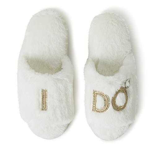 Dearfoams Women's Novelty Bridal Slide Slipper, Alabaster, Large