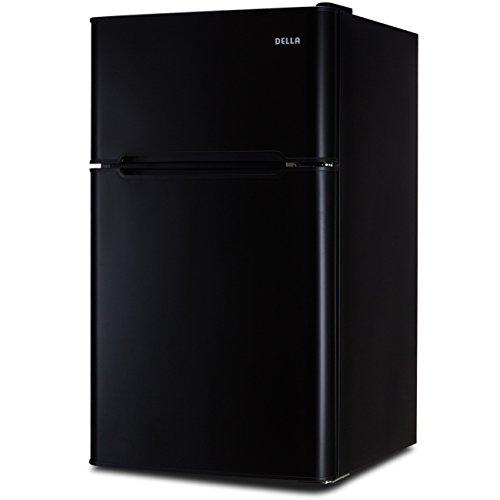 DELLA 3.2 cu ft Mini Refrigerator and Freezer Small Compact Dorm Office Adjustable Shelf Fridge Built-in Light w/Drawer