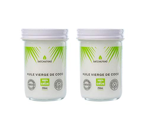 Huile de Coco Bio Ratchaprao – Vierge, 100% Crue, Pressée à Froid - Naturelle, Non Raffinée - Produit Vegan - Huile Soin Cosmétique Cheveux, Visage, Corps, Bébé - Cuisine Diététique - 500 ml