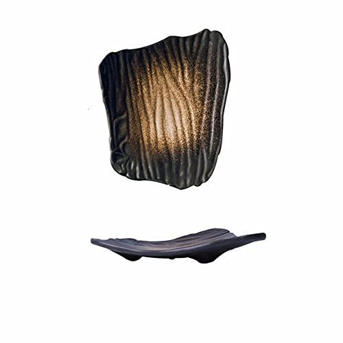 Plato decorativo creativo de cerámica de sushi de estilo japonés placa plana irregular placa de desayuno negro plato casero plato bocadillo 10 pulgadas