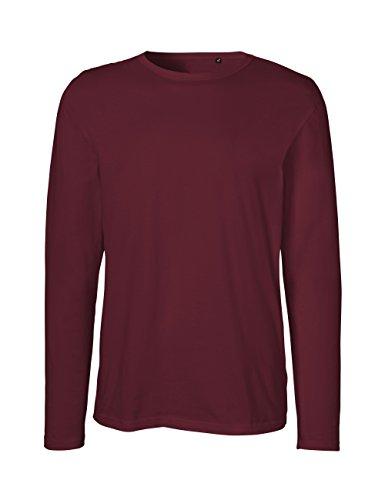 Green Cat Herren Langarm T-Shirt, 100% Bio-Baumwolle. Fairtrade, Oeko-Tex und Ecolabel Zertifiziert, Bordeaux, L