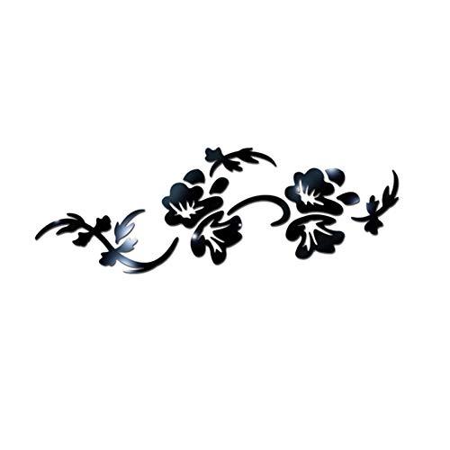 Ice-Beaut Pegatinas De Pared Fondo Arte Innovador Sala De Estar Dormitorio AcríLico Forma De Flor Espejo De Cristal DecoracióN del Hogar PelíCula Protectora Black