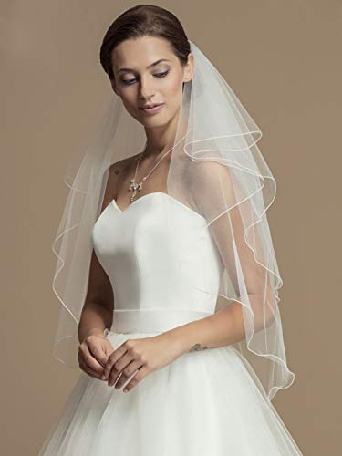 Whisttle 2-Tier Wedding Veil Waist Length Short Bride Hair Accessoies Bridal Tulle with Comb and Pencil Edge (White)