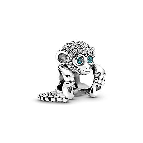 Diy 925 Pandora Colgante De Plata Esterlina Pave Monkey Charm Beads Fit Original Pulsera Brazalete Fabricación De Joyas De Plata