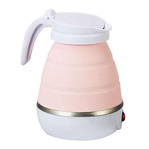 Hervidor eléctrico plegable de silicona de viaje, hervidor de agua hervida rápidamente en 3 minutos, resistente a altas y bajas temperaturas, color rosa