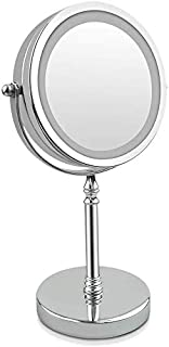 BMJ&C Makeup Mirror, 7inch Magnifying Mirror with Light Double Sided 1x/10x LED Shaving Mirror