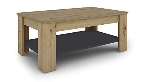 HOMEXPERTS Couchtisch JENNY / Wohnzimmer-Tisch in brauner Eichen-Optik / Regalboden in Athrazit für extra Stauraum / Beistelltisch / Holz-Tisch / Designer Möbel / 100x44x60cm (BxHxT)