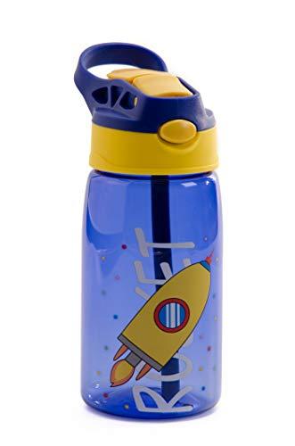 Botella de Agua para Niño - botella agua libre de BPA - Botella Agua con Pajitas - Antibacteriano.