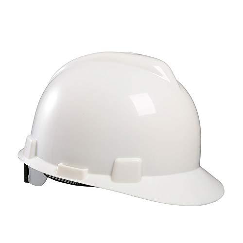 HSJDP Casco Obra,Casco de Seguridad,con Ratchet Slip - Blanco - Azul-Rojo-Amarillo-ventilación,Blanco,25.5x22x15cm 🔥