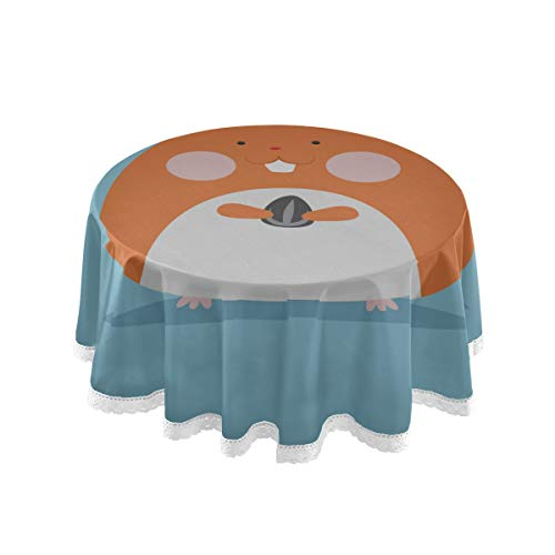 Round Simple Tablecloth Hungry Pets Of Plush Hamsters Patio Table Cover 60 Inch Lace Stitching Macrame Polyester Decoration