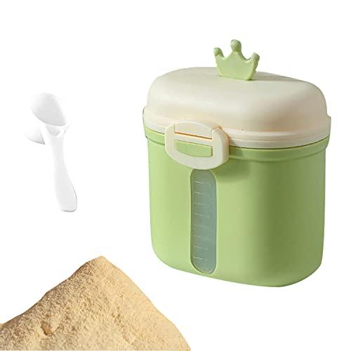 Scatola per Latte in Polvere, Contenitore Portatile per Latte Polvere, Dispenser per Latte in Polvere, per Latte Polvere, Snack, Cereali, con Cucchiaio (Verde)