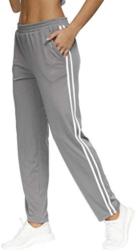 BLEVONH Womens Elastic Waistband Striped Side Work Out Sweatpants with Pockets (Grey, X-Large)