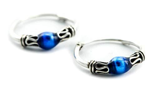 WINDALF Delicados pendientes de aro estilo vintage Kila de 14 mm de diámetro, océano azul con ornamentos bohemios pendientes de plata de ley 925
