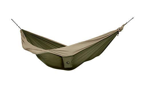 Ticket to the Moon Fair Trade & Handmade 1-2 Person King Size- Lightweight-Hammock Army Green-Brown for Travelling, Camping, XXL 3.2 * 2.3m, 700g, Parachute-Silk, Set-Up  1 min, OEKO-TEX