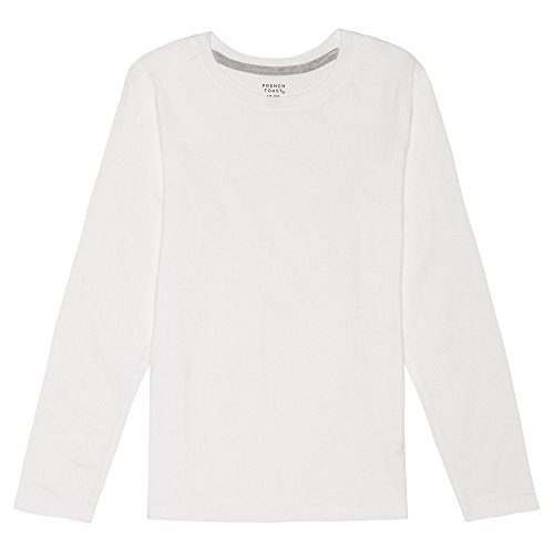 French Toast Boys' Toddler Long Sleeve Crewneck Tee T-Shirt, White, 2T