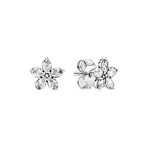 Pandora Orecchini a forma di fiocco di neve in argento sterling, 1,8 x 7,5 x 7,5 mm (T/H/B)
