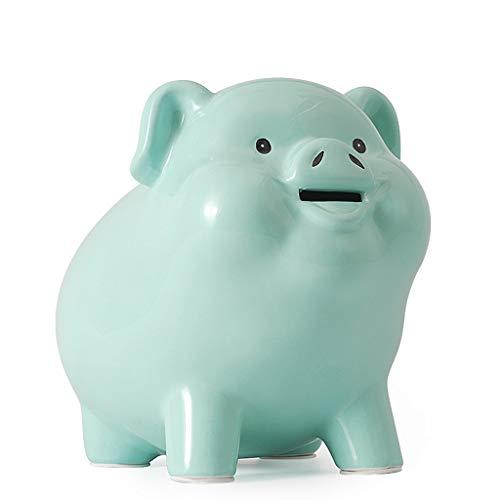 ZHONGTAI Hucha Cerdito Cerámica Piggy Bank Coin Bank Bank para niños y Adultos Lindo Pig Money Dinero Salvando Sala de viveros Decoración Regalo de cumpleaños único Hucha