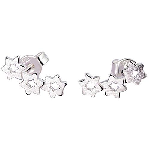 CAOLATOR Pendientes Joyería de Plata Color de Oído de Arpa Joyería Accesorios de Las Mujeres Regalo de Cumpleaños Decoración del Partido(Estrellas)
