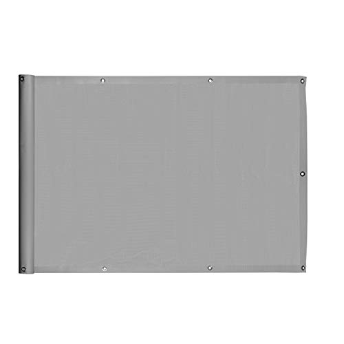Ventanara Balkonverkleidung Sichtschutz PVC blickdichte Balkonumspannung Zaun Verkleidung Blende Windschutz Folie (500 x 75 cm, Grau)