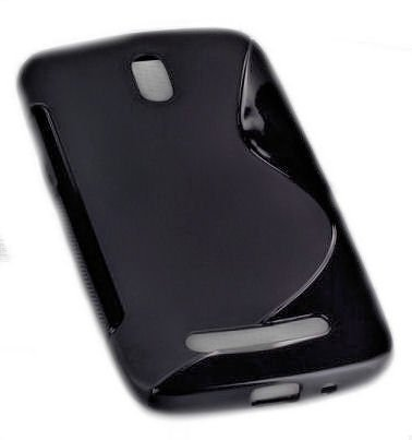 PeKa Internethandel Design Rubber Style Silikon TPU Handy Cover Case Hülle - Schwarz - kompatibel mit HTC Desire 500