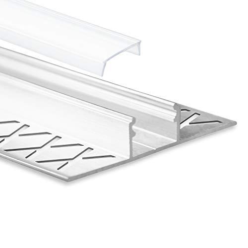 LED Aluminium Fliesenprofil F1 Mirach 2 Meter inkl. Abdeckung Opal (milchige Abdeckung) LED Fliesenprofil 2m LED Alu Profil Fliesen