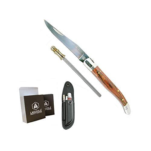LAGUIOLE - Couteau Super Rando' 22cm + étui cuir noir + fusil, manche bois exotique'