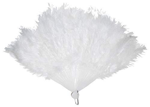 Das Kostümland Fächer mit Marabu Federn - Weiß
