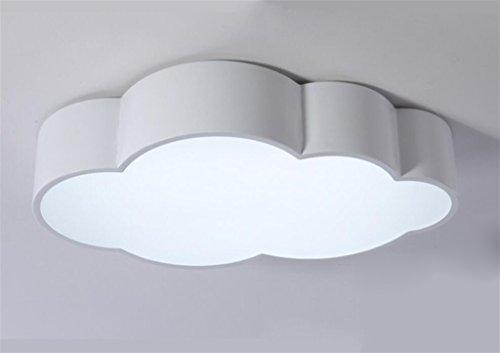FANDBO@ Creativo LED Nube Lámpara de techo para niños niñas Dormitorio Habitación de niños jardín de infantes (52 * 32 * 10 cm, hierro + acrílico, luz blanca, 24W) (Color : Blanco)