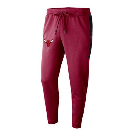 rzoizwko Hombres 's Chicago Bulls Poliéster Pantalones Deportivos Sueltos Microelásticos Pantalones de Jogging Informales Pantalones de Entrenamiento